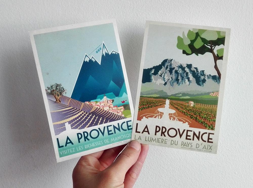 Création d'affiche typée ancienne sur les richesses de la région provençale